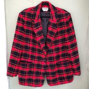 Vintage Joan Leslie Red Plaid Blazer Size 20W